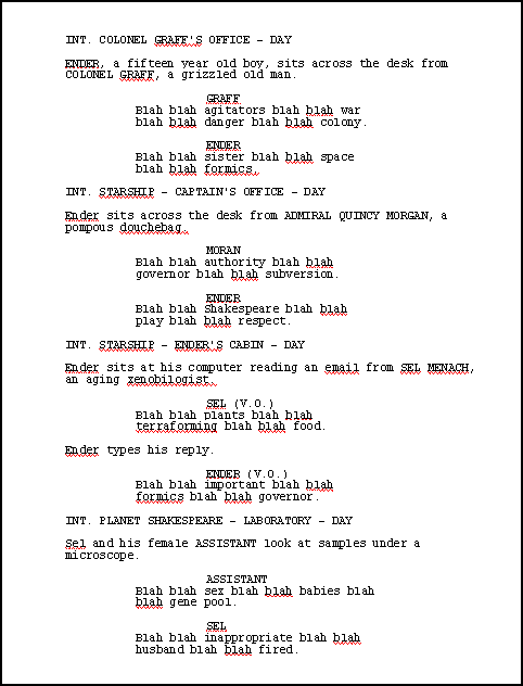 Katrina Nicholson's spoof screenplay for Ender in Exile by Orson Scott Card