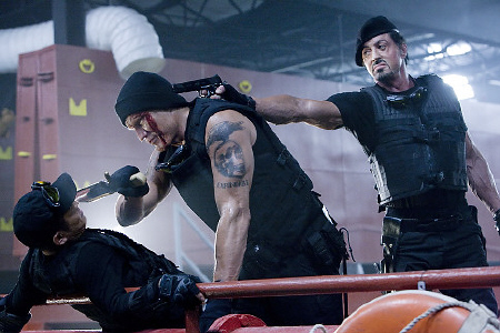 Gunner goes crazy from the Lionsgate film The Expendables