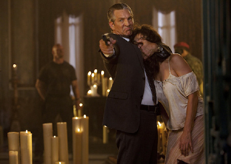 Eric Roberts holding the girl hostage from the Lionsgate film The Expendables