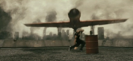 landing the plane on the roof from the Sony Pictures film Resident Evil Afterlife