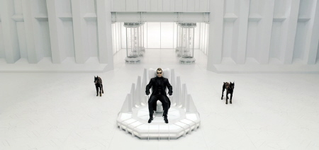 Wesker in his chair from the Sony Pictures film Resident Evil Afterlife