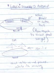 Katrina Nicholson's drawing of a green airship