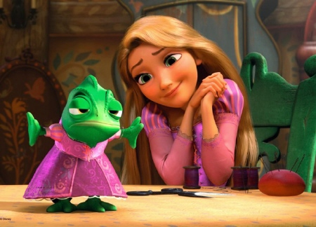 Rapunzel makes a dress for Pascal from the Walt Disney Pictures film Tangled