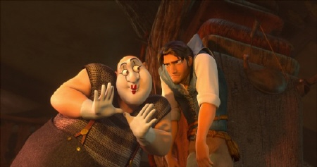 a mime thug and Flynn from the Walt Disney Pictures film Tangled