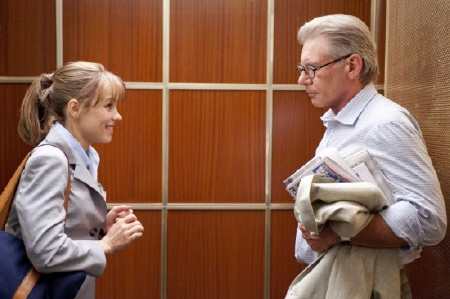 Becky meets Mike in an elevator from the Paramount Pictures film Morning Glory