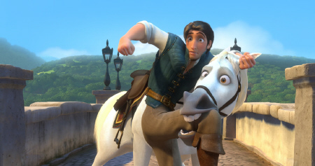 Flynn and Maximus fighting from the Walt Disney Pictures film Tangled