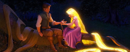 Rapunzel heals Flynn from the Walt Disney Pictures film Tangled