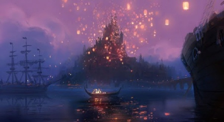 floating lanterns from the Walt Disney Pictures film Tangled