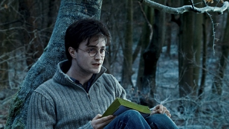 Harry reads a book from the Warner Bros. Pictures film Harry Potter and the Deathly Hallows Part 1