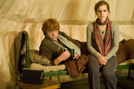 Ron and Hermione in the tent from the Warner Bros. Pictures film Harry Potter and the Deathly Hallows Part 1