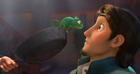 Pascal and Rapunzel threaten Flynn with frying pan from the Walt Disney Pictures film Tangled