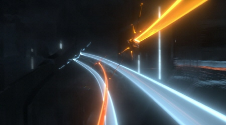light jet dogfight from the Walt Disney Pictures film Tron Legacy