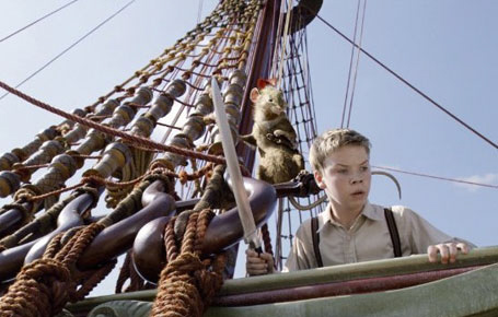 Eustace and Reepicheep from the 20th Century Fox film Chronicles of Narnia Voyage of the Dawn Treader