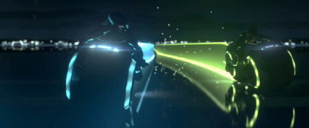 light cycle battle from the Walt Disney Pictures film Tron Legacy