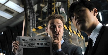 Britt and Kato are in the newspaper from the Columbia Pictures film The Green Hornet