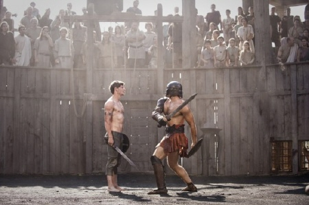 Esca faces a gladiator from the Focus Features film The Eagle