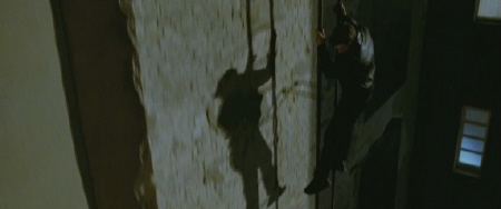 sliding down a ladder from the Dark Castle Entertainment film Unknown