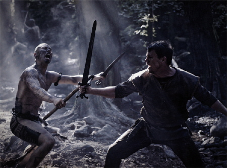 Marcus fights a painted warrior from the Focus Features film The Eagle