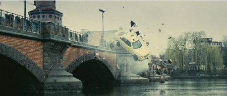 cab goes off bridge from the Dark Castle Entertainment film Unknown