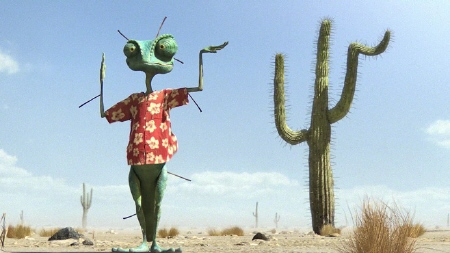 Rango disguises himself as a cactus from the Nickelodeon Film Rango