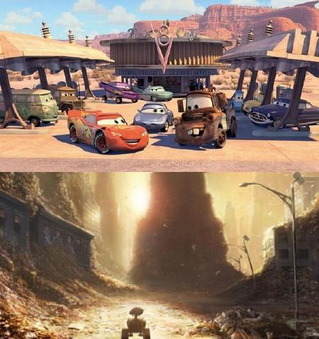 Cars and Wall-E by Pixar