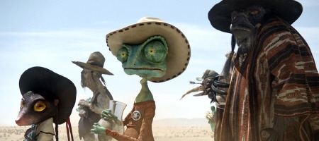 Rango lines up for water from the Nickelodeon Film Rango