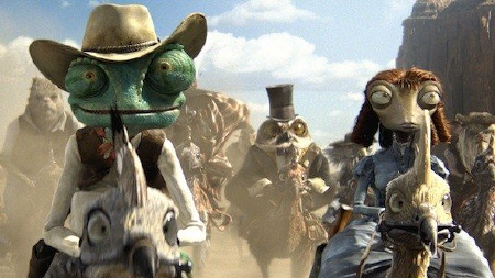 Rango, Beans, and the posse riding chickens from the Nickelodeon Film Rango