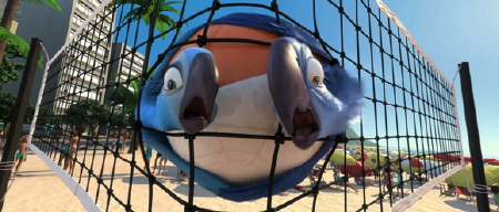 Blu and Jewel ride a volleyball from the Twentieth Century Fox Animation film Rio