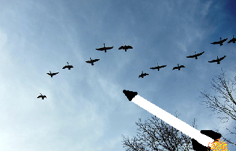migrating geese by r scott keehn on Flickr... plus a missile