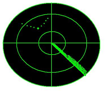 a radar screen showing geese