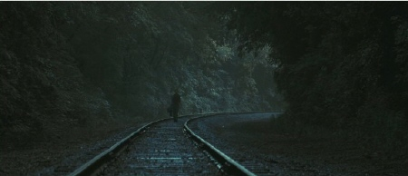 Jacob walks the railroad tracks from the 20th Century Fox Film Water for Elephants