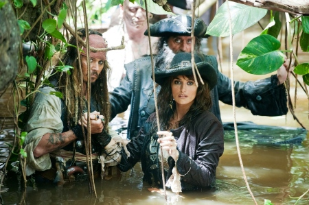Angelica, Jack and Blackbeard in a swamp from the Walt Disney Pictures film Pirates of the Caribbean On Stranger Tides