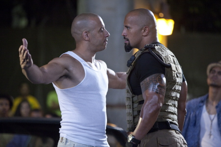Dominic and Hobbs face off from the Universal Pictures film Fast Five