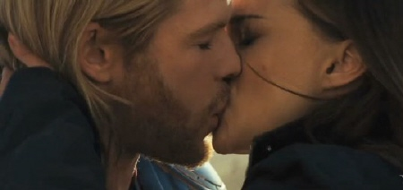 Thor and Jane kiss from the Paramount Pictures film Thor