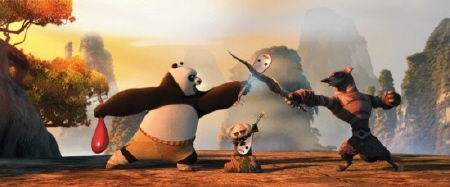 Po fights a wolf with a mandolin from the Dreamworks Animation film Kung Fu Panda 2