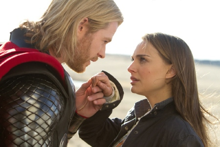 Thor kisses Jane on the hand from the Paramount Pictures film Thor