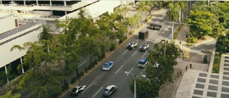 cars dragging a safe from the Universal Pictures film Fast Five