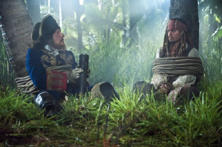 Barbossa and Jack tied up from the Walt Disney Pictures film Pirates of the Caribbean On Stranger Tides