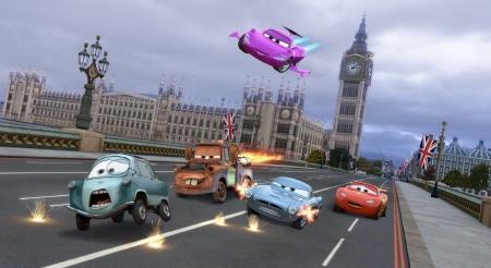 gunfight in London from the Disney Pixar film Cars 2