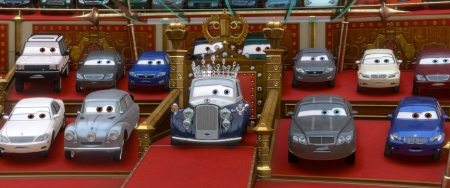 The Queen and Prince Wheelham from the Disney Pixar film Cars 2