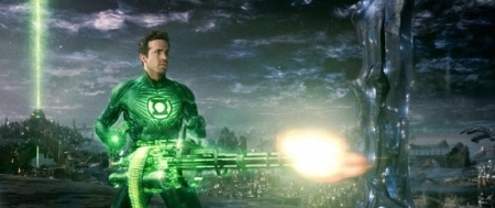 Hal imagines a gattling gun from the Warner Bros. Pictures film Green Lantern