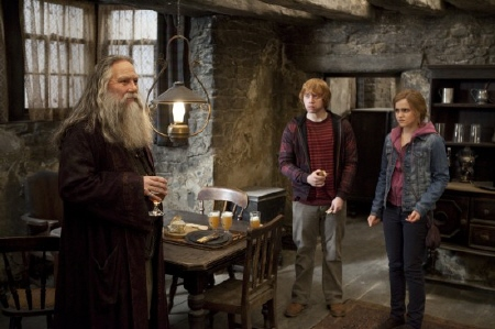 Aberforth greets Ron and Hermione from the Warner Bros. Pictures film Harry Potter and the Deathly Hallows Part 2