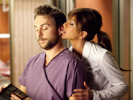 Charlie Day and Jennifer Aniston from the Warner Bros Pictures film Horrible Bosses