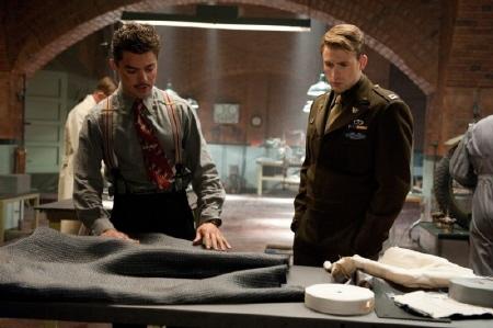 Howard Stark and Steve from the Marvel Studios film Captain America the First Avenger