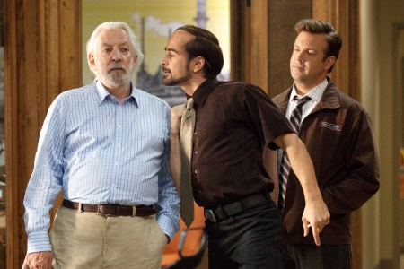 donald Sutherland, Colin Farrell, and Jason Sudekis from the Warner Bros Pictures film Horrible Bosses