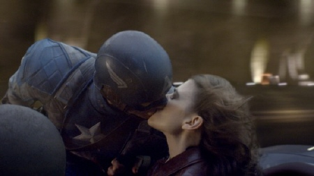 Steve and Peggy kiss from the Marvel Studios film Captain America the First Avenger