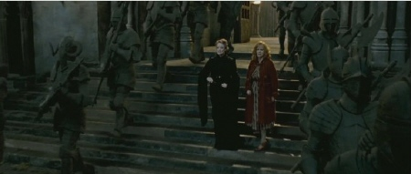 McGonagall wakes the statues from the Warner Bros. Pictures film Harry Potter and the Deathly Hallows Part 2