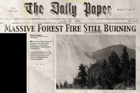 fake newspaper article from the movie Legend of the Psychotic Forest Ranger