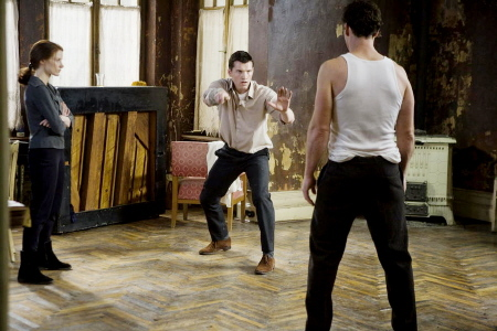 Rachel, David and Stephan practice fighting from the Miramax Films movie The Debt