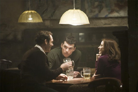 Stephan, David, and Rachel have a drink from the Miramax Films movie The Debt